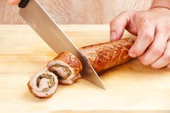 Roulade of chicken and ham Stock Photo