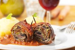 Roulade. Cut meat roulade on a plate Stock Images