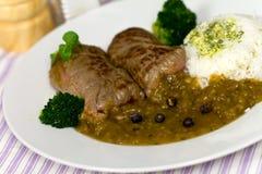 Roulade da carne com arroz e molho Foto de Stock Royalty Free
