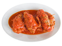 Roulade de viande avec la sauce tomate. Photographie stock