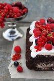 Roulade do chocolate com creme fotos de stock