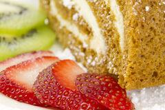 Roulade With Fruits. Slice of Roulade complimented with slices of strawberries and kiwis Stock Images