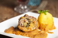 Roulade. Home made bavarian roulade with gravy Royalty Free Stock Photos