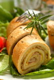 Roulade made from beckon and c. Heese on the lettuce Royalty Free Stock Image