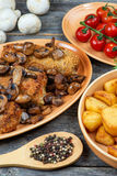 Roulade of pork with roasted mushrooms and potatoes Royalty Free Stock Image