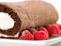 Roulade with Raspberries Stock Photography