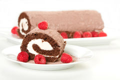 Roulade with Raspberries Royalty Free Stock Photos