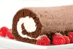 Roulade with Raspberries Stock Images