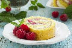 Roulade with raspberries Stock Photo