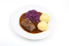 Roulade, red cabbage and knödel Royalty Free Stock Image