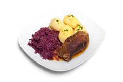 Roulade, red cabbage and potatoes Stock Image