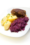 Roulade, red cabbage and potatoes. Roulade with red cabbage and potatoes Stock Photography