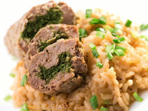 Roulade with risotto Stock Images