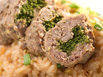 Roulade with risotto Royalty Free Stock Images