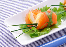 Roulade of smoked salmon with salad Royalty Free Stock Photography