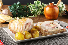 Roulade of stuffed chicken with potatoes Royalty Free Stock Photography