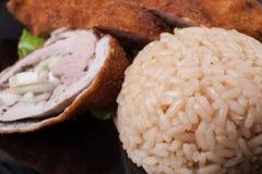 Roulades de viande avec du riz photo libre de droits