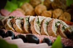 Roulades de viande avec le champignon de couche Photographie stock