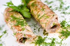 Roulades de viande rôties, instruction-macro Photos libres de droits