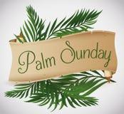 Rouleau antique avec des branches de paume derrière pour des vacances de dimanche de paume, illustration de vecteur Photos libres de droits