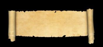 Rouleau antique de parchemin sur le fond noir Photographie stock libre de droits