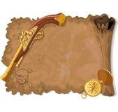 Rouleau, arme à feu et boussole de pirate Images stock