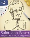 Rouleau avec le saint John Bosco Draw pour le jour du magicien, illustration de vecteur illustration stock