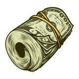 Rouleau coloré d'argent de concept des dollars Photographie stock libre de droits