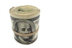Rouleau d'argent comptant d'argent américain de dollar US D'isolement   Photos libres de droits