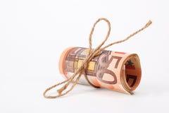 Rouleau d'argent d'euros Photographie stock