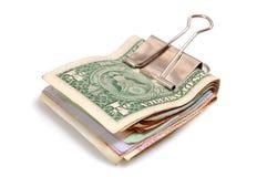 Rouleau d'argent sur un blanc Photographie stock libre de droits