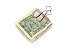 Rouleau d'argent sur un blanc Photo libre de droits