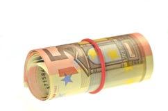 Rouleau d'euro billets de banque Images stock
