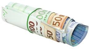 Rouleau d'euro billets de banque Photos libres de droits