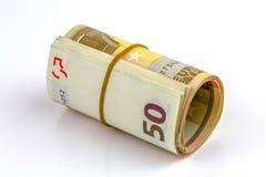 Rouleau d'un cinquante euro billets de banque Photographie stock