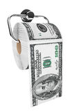 Rouleau de 100 billets d'un dollar comme papier hygiénique sur le support de chrome Image libre de droits