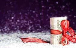 Rouleau de billets de banque ukrainiens avec le ruban rouge de cadeau Photographie stock