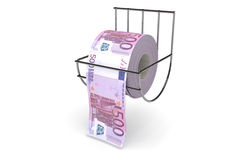 Rouleau de 500 factures d'euros Photo libre de droits