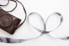 Rouleau de film, présenté sous forme de coeur et vieux vintag Images stock