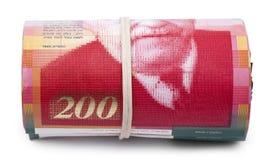 Rouleau de 200 nouvelles factures israéliennes de shekels Images libres de droits