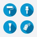 Rouleau de peinture, icône de brosse Boîte et spatule de jet Image libre de droits
