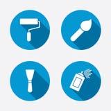 Rouleau de peinture, icône de brosse Boîte et spatule de jet Photo libre de droits