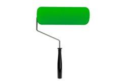 Rouleau de peinture vert d'isolement Images libres de droits