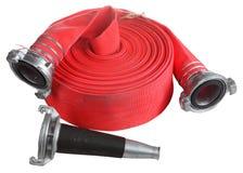 Rouleau de petit pain de bobinier de tuyau d'incendie rouge, avec le coupleur et le bec Photos stock