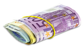 Rouleau de pile d'euro billets de banque Photo stock