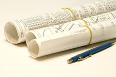 Rouleau de plans et de conception Image libre de droits