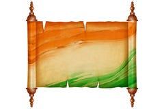Rouleau de vintage avec le papier antique dans le drapeau indien Photo stock