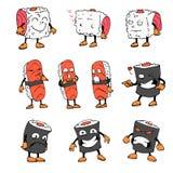 Rouleau du caractère Bande dessinée de croquis image d'isolement par vecteur graphisme Le restaurant asiatique Photographie stock libre de droits