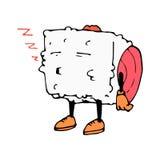 Rouleau du caractère Bande dessinée de croquis sommeil image d'isolement par vecteur graphisme Le restaurant asiatique Photographie stock