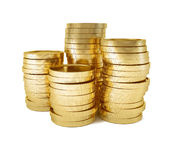 Rouleau of gold coins. 3d-illustration on white background Royalty Free Stock Image